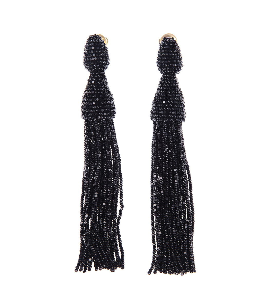 black beaded tassel earrings
