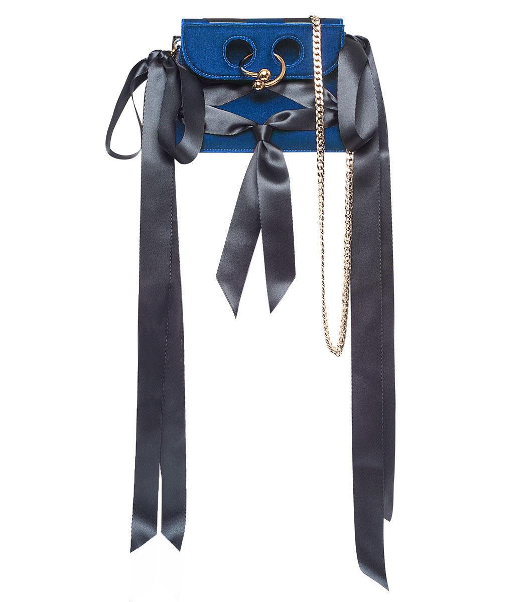 midnight mini velvet pierce bow bag