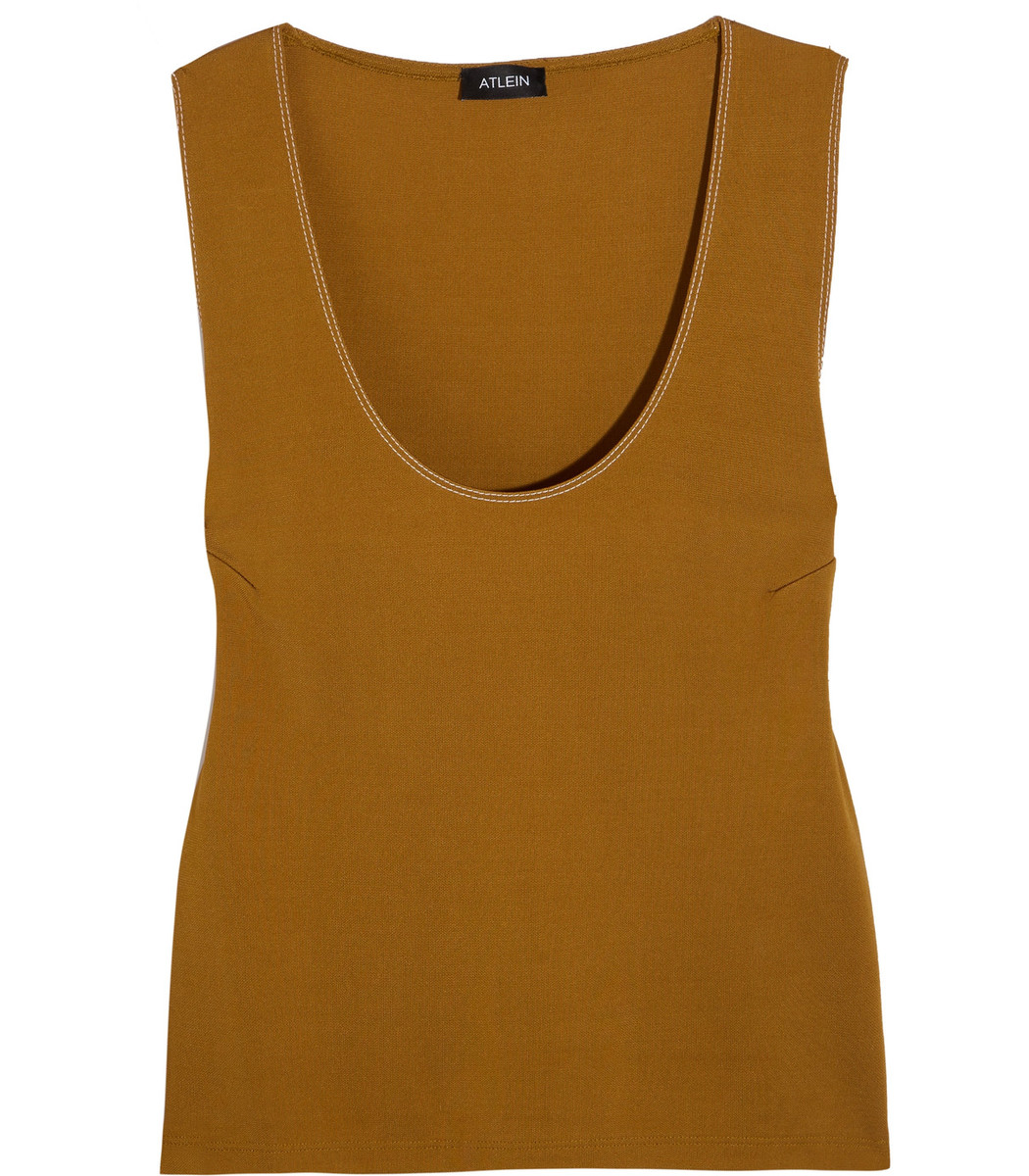 Atlein Brown Topstiched Jersey Tank