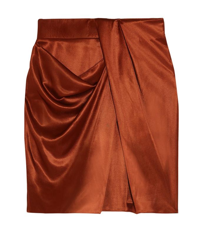 draped metallic satin mini skirt