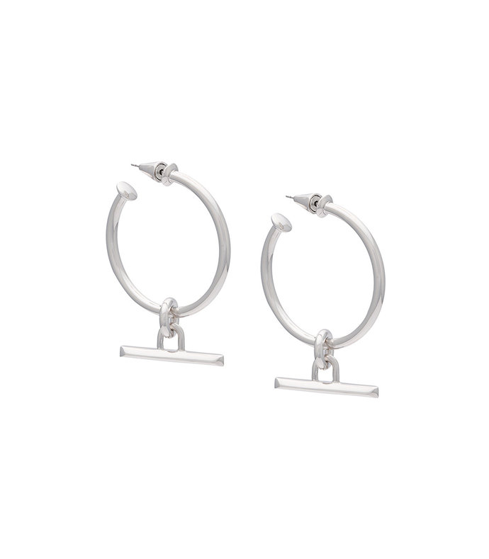 silver bar hook earrings