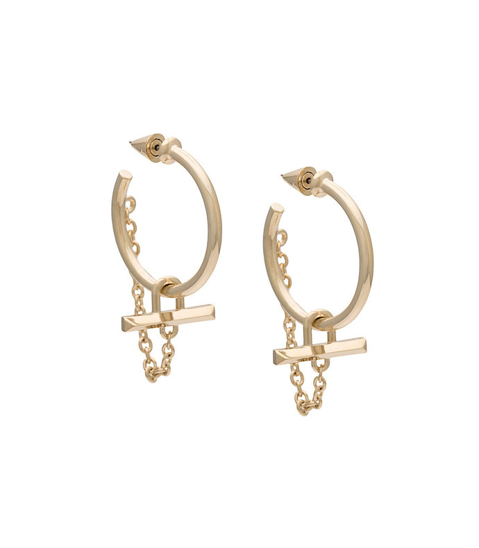 gold bar chain earrings