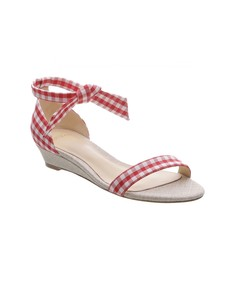 red 'clarita gingham' wedge sandal
