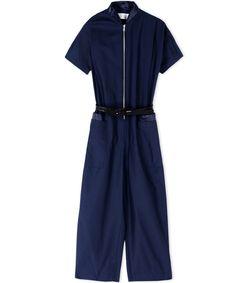 ShopBazaar Victoria, Victoria Beckham Navy Front-Zip Jumpsuit MAIN