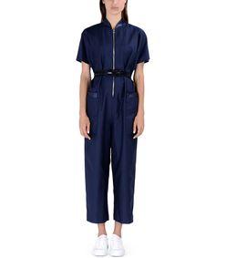 ShopBazaar Victoria, Victoria Beckham Navy Front-Zip Jumpsuit FRONT