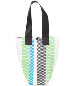 white striped woven shoulder bag