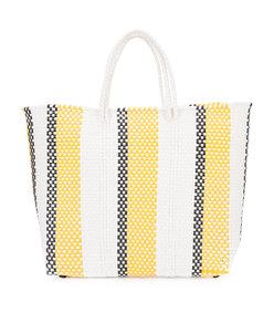 multicolor striped woven tote bag