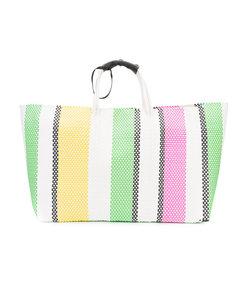 multicolor oversized striped woven tote bag