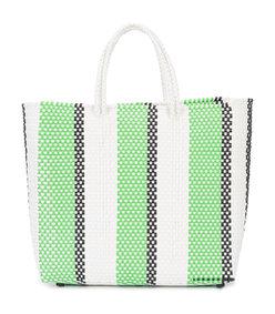 green striped tote bag