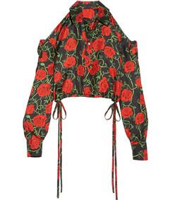 black cropped cold shoulder floral print top