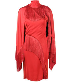 red fringed cocktail dress