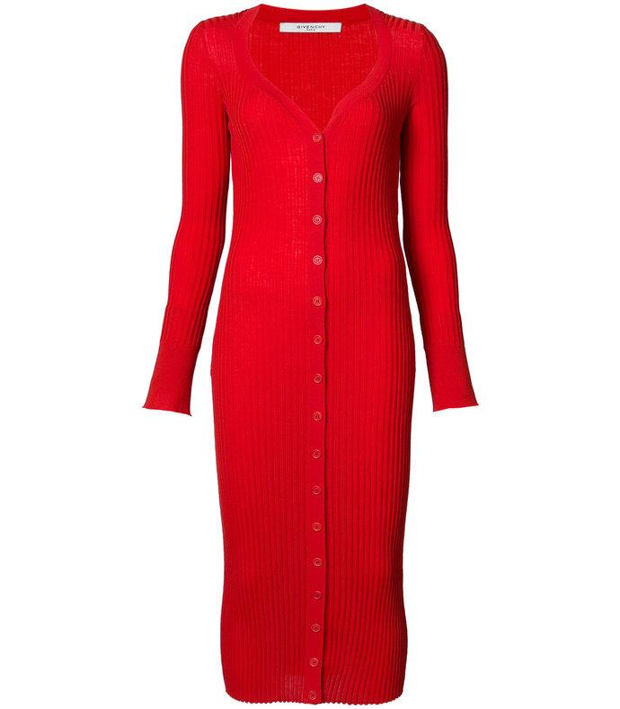 red ribbed cardigan dress