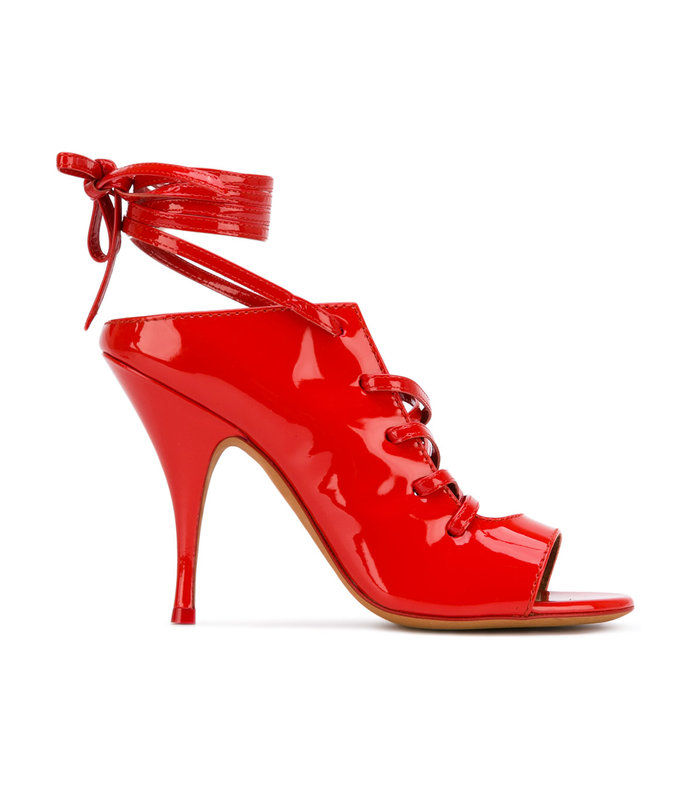 red ankle wrap sandal