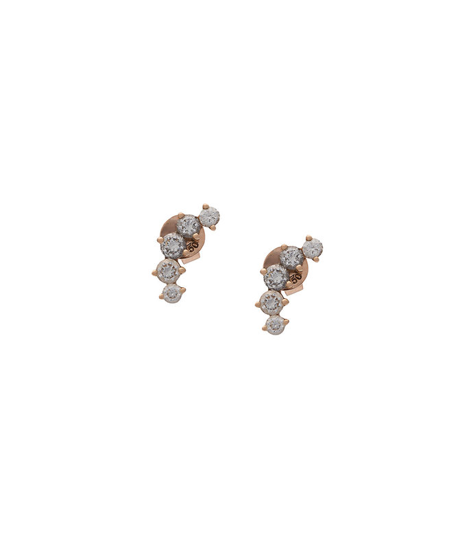 gold arc diamond studs earrings