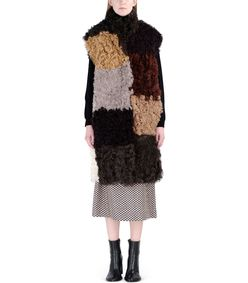 ShopBazaar Marni Multi-Colored Patchwork Shearling Vest FRONT