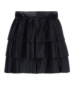 ShopBazaar Balmain Pleated Leather Skirt MAIN