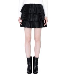ShopBazaar Balmain Pleated Leather Skirt FRONT