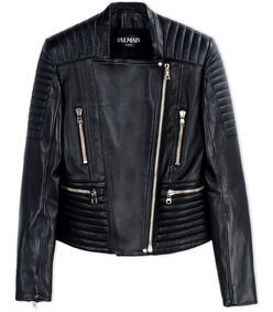 ShopBazaar Balmain Black Leather Quilted Jacket MAIN