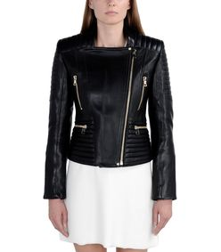 ShopBazaar Balmain Black Leather Quilted Jacket FRONT
