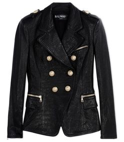 ShopBazaar Balmain Black Leather Double-Breasted Jacket MAIN