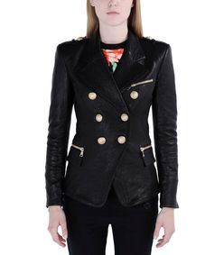 ShopBazaar Balmain Black Leather Double-Breasted Jacket FRONT