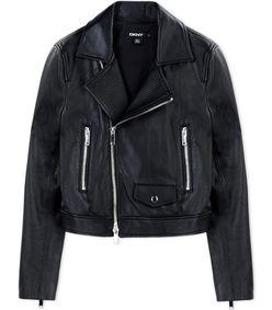 ShopBazaar DKNY Black Leather Jacket MAIN