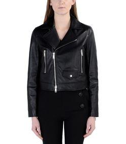 ShopBazaar DKNY Black Leather Jacket FRONT
