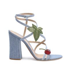 cherry denim strappy sandal
