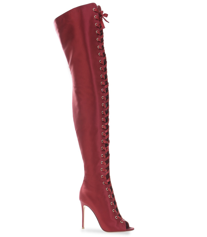 red lace-up over-the-knee boot