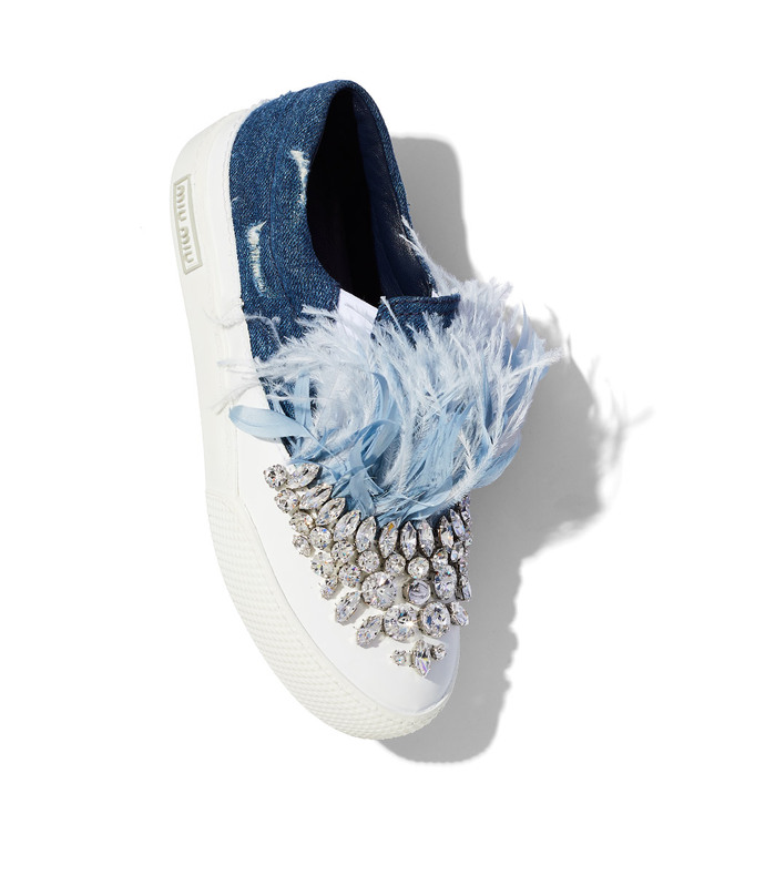 blue feather & crystal slip on sneaker