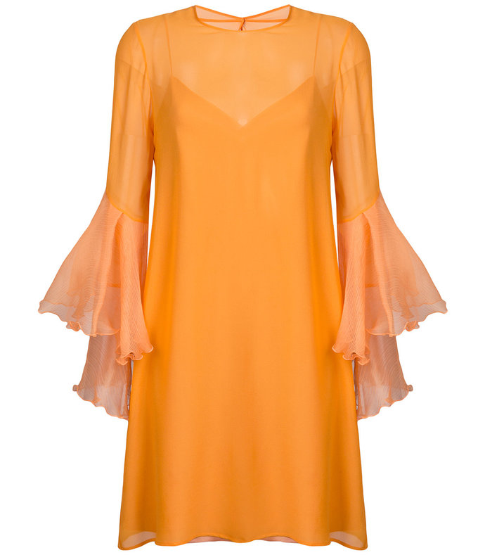 orange trumpet sleeve dress