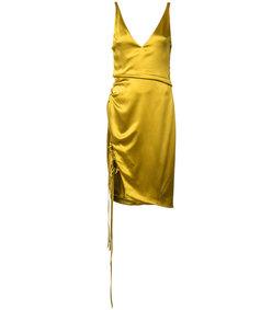 gold lace up slit dress