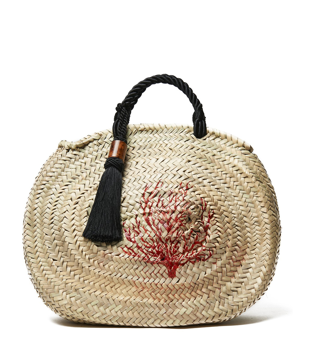 Woven Palm Tassel Tote with Hand-Painted Coral SBZ-woven-palm-tassel-tote-hand-painted-coral