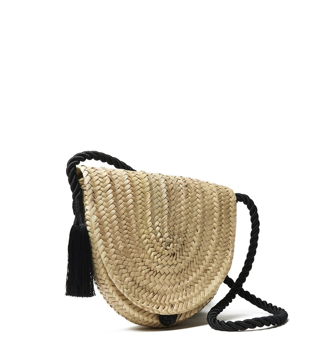woven palm and tassel crossbody bag