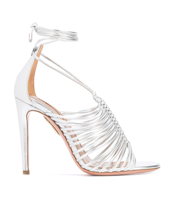 silver lace-up sandal
