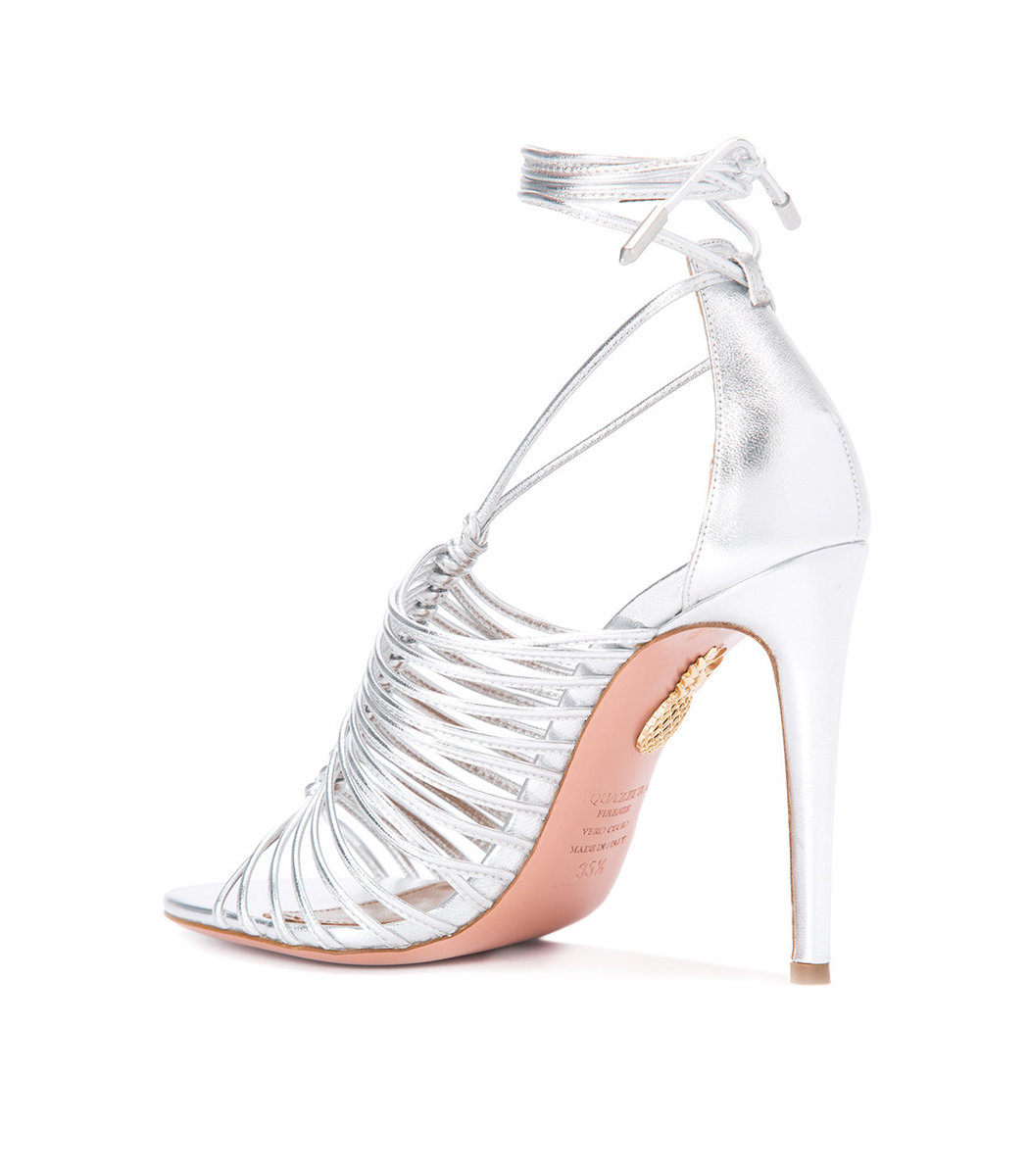 Aquazzura Silver Lace Up Sandal Modesens