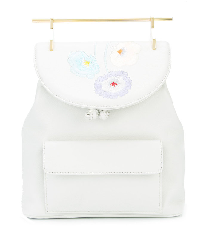 white embroidered leather backpack