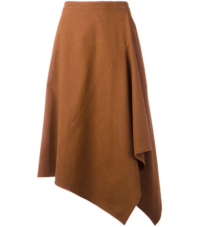brown asymmetric midi skirt
