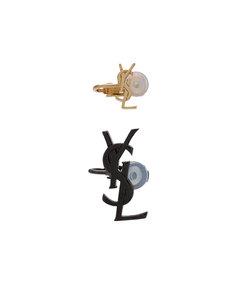 metallic logo earrings