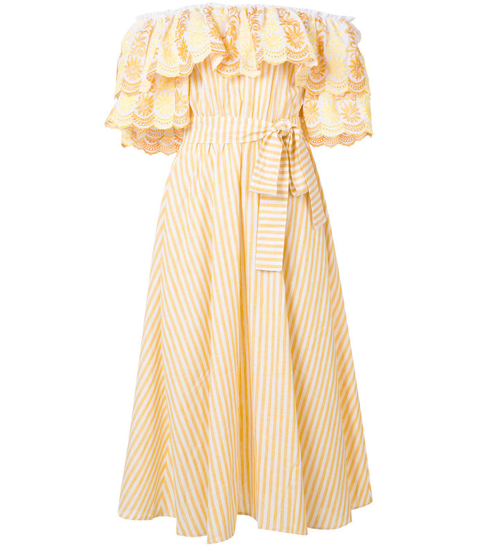 yellow striped 'bardot' dress