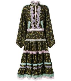 multicolor lace trim camouflage dress
