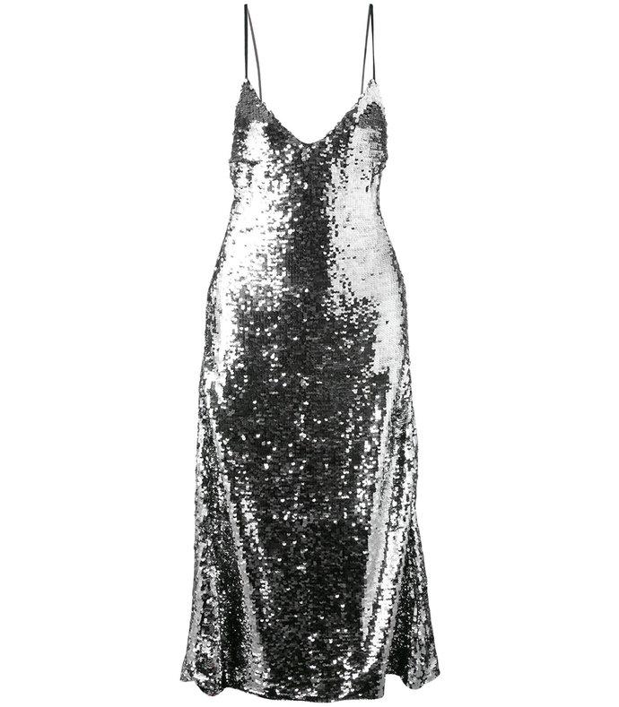 silver sequin embellished slip dress