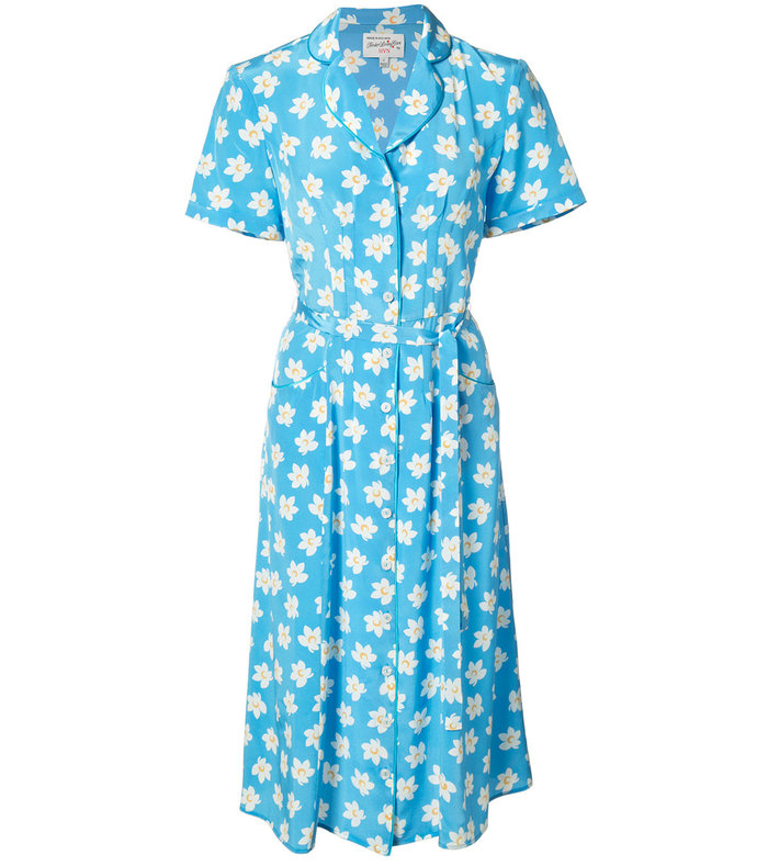 blue 'falling floral' dress