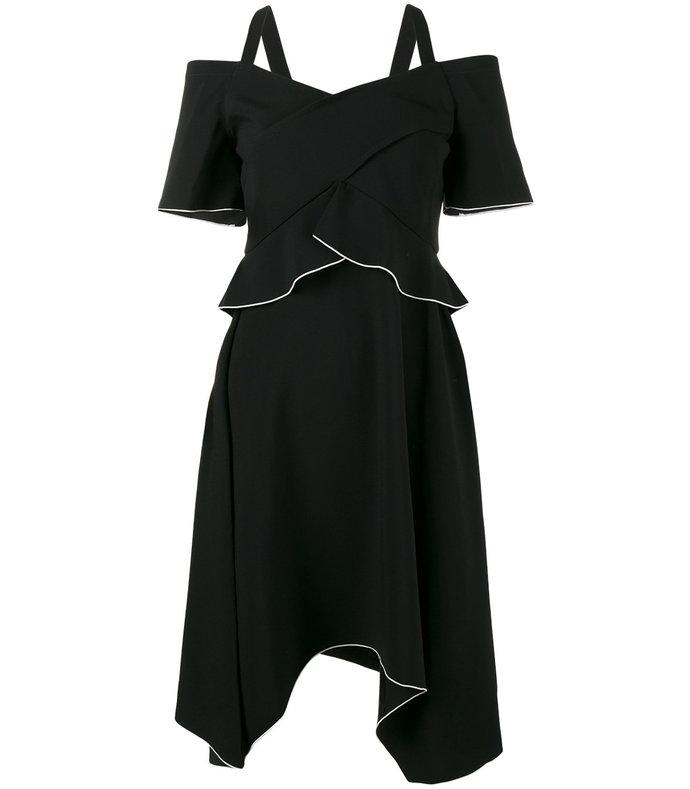 black off-the-shoulder asymmetric dress