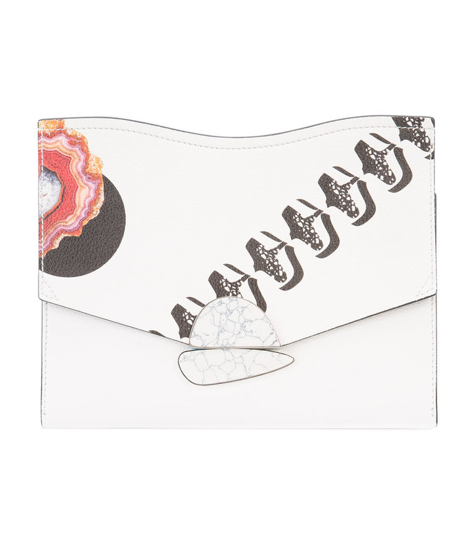white printed 'curl' clutch