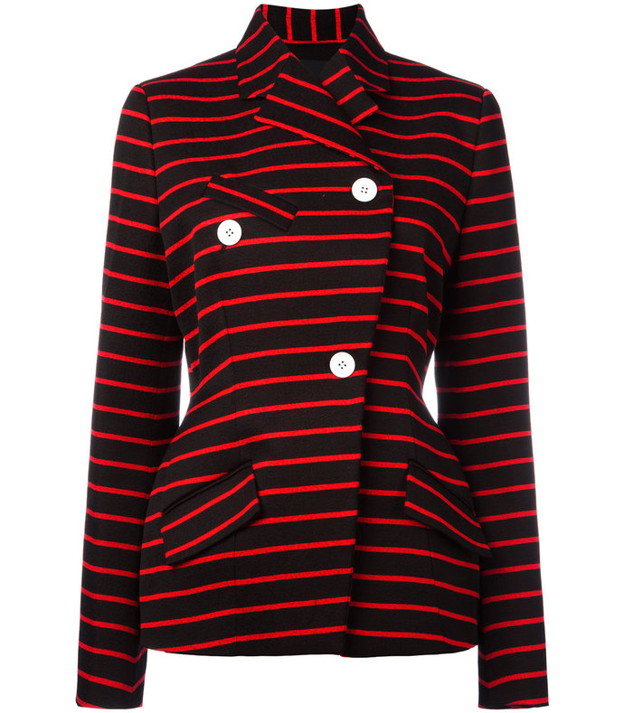 red wrap front striped jacket
