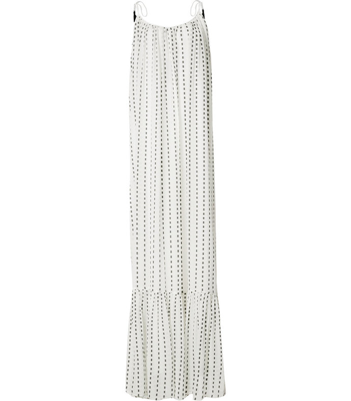 white blurred stripe maxi dress