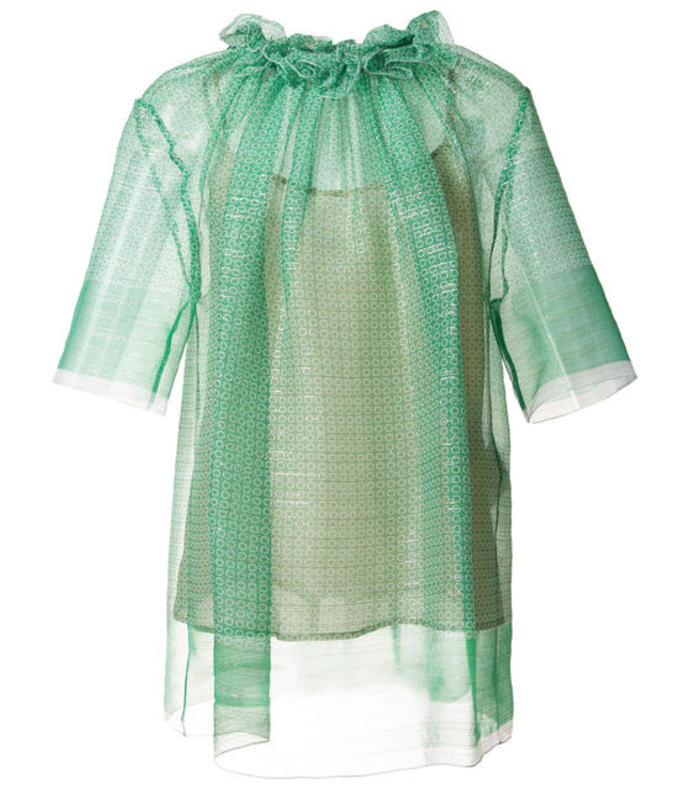 green sheer ruffled top