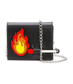black fire patch chain bag