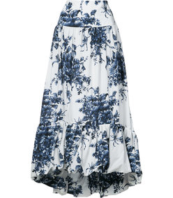 blue & white flared floral skirt
